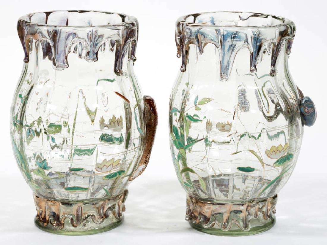 MOSER HIGH-RELIEF ENAMEL-DECORATED ART GLASS PAIR OF - 4