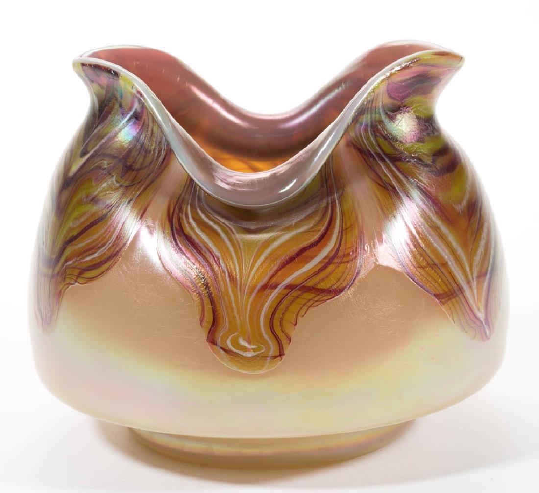 BOHEMIAN LOETZ-TYPE PULLED ART GLASS VASE