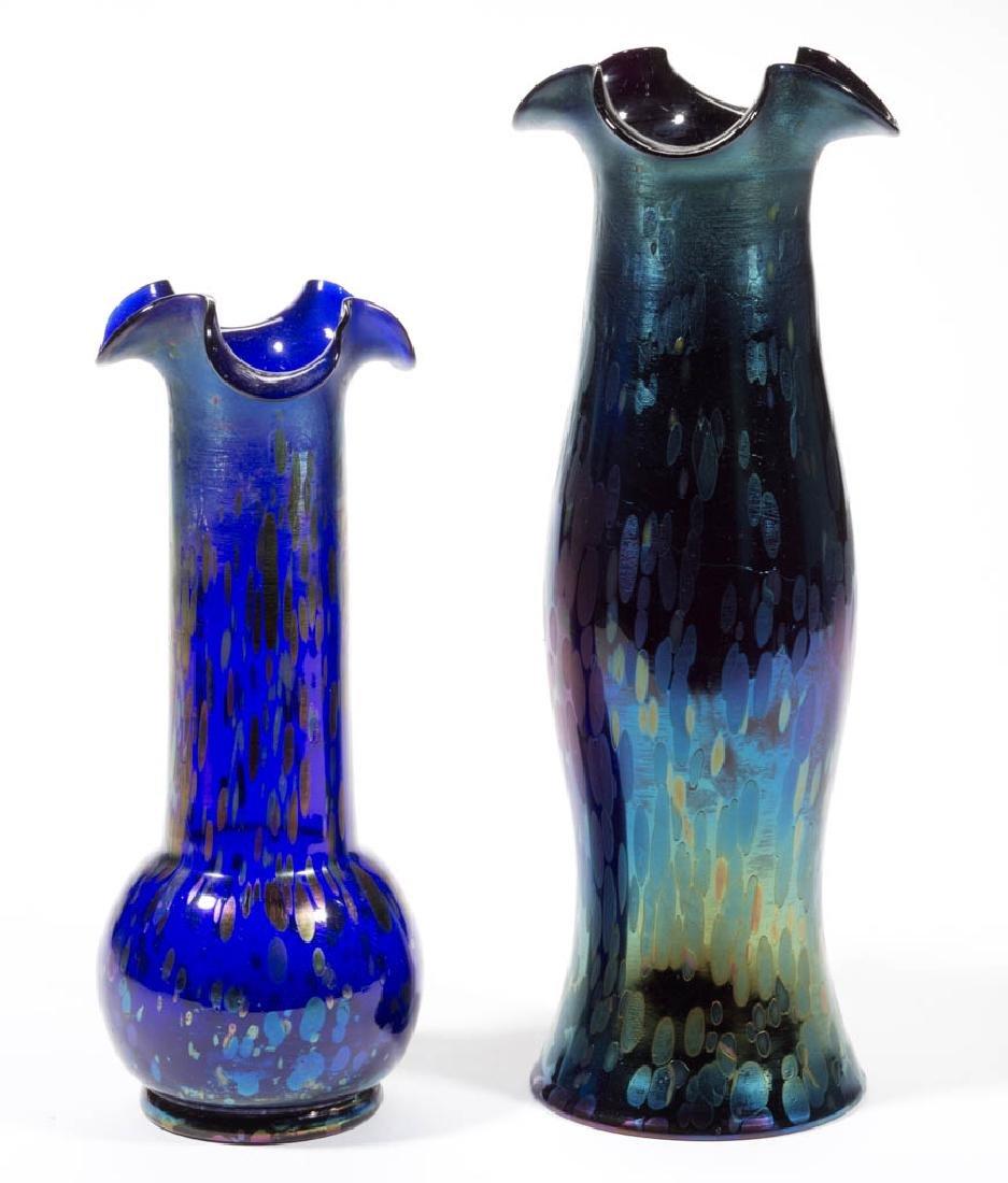 KRALIK BLUE OIL SPOT ART GLASS VASES, LOT OF TWO