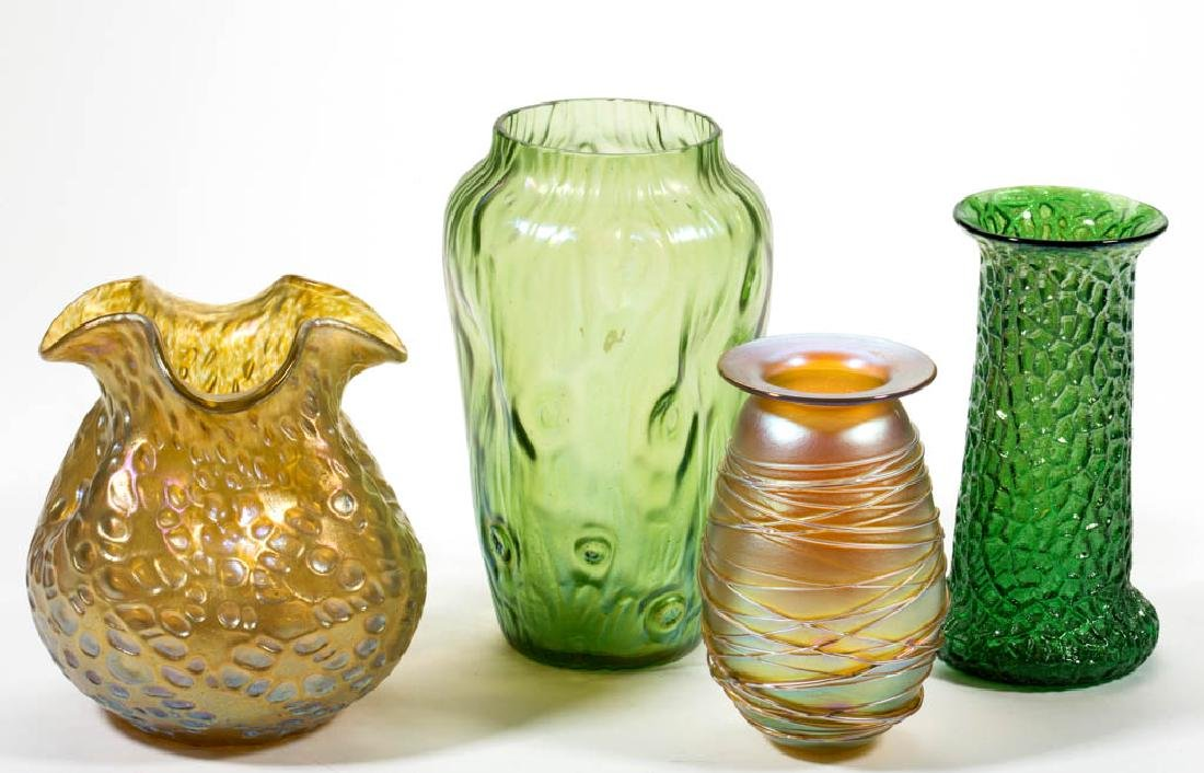 ASSORTED ART GLASS VASES, LOT OF FOUR