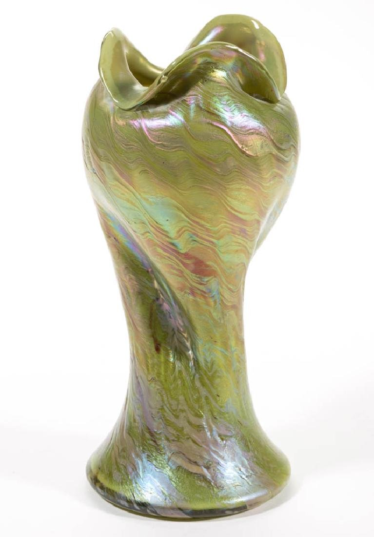 RINDSKOPF ATTRIBUTED STRIATED ART GLASS VASE - 2
