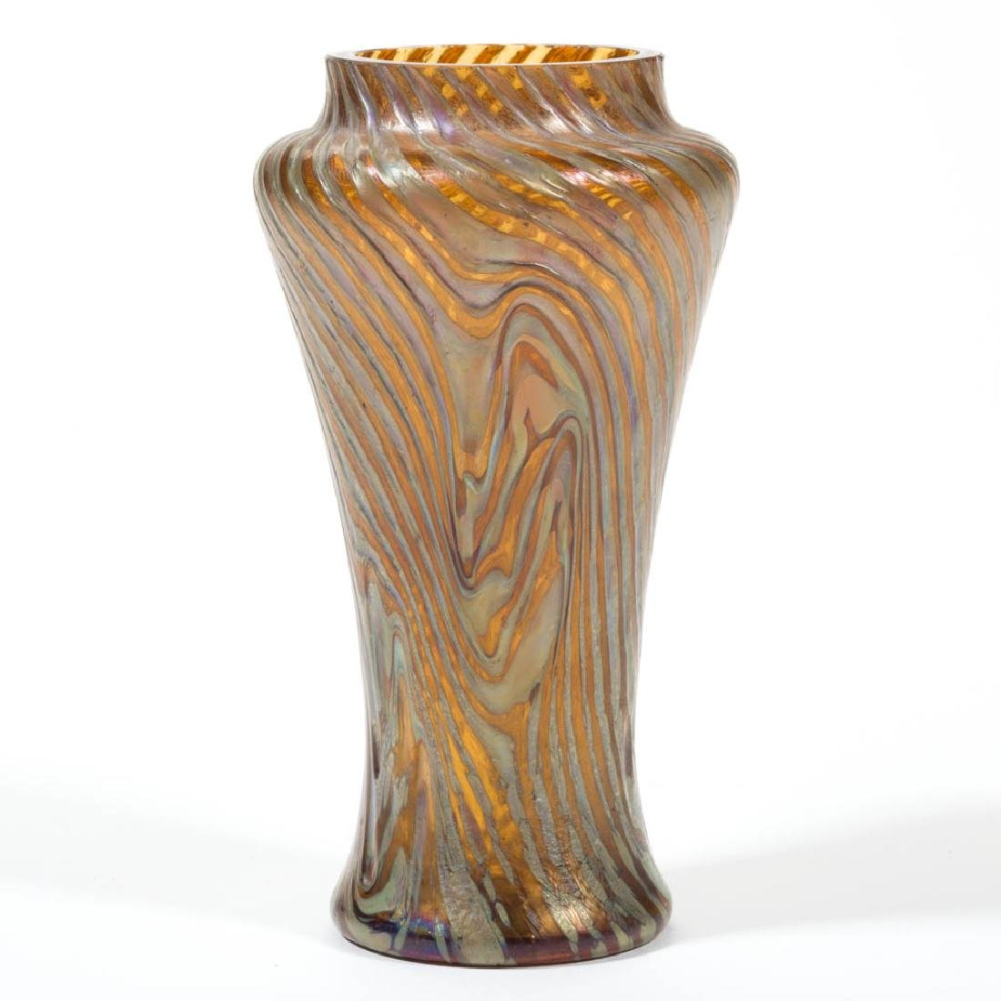 RINDSKOPF ATTRIBUTED CORRUGATED ART GLASS VASE