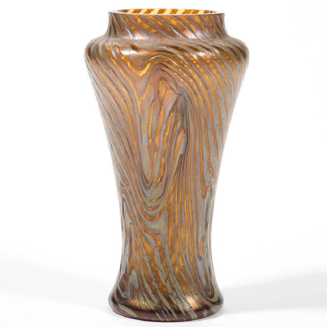 RINDSKOPF ATTRIBUTED CORRUGATED ART GLASS VASE - 2