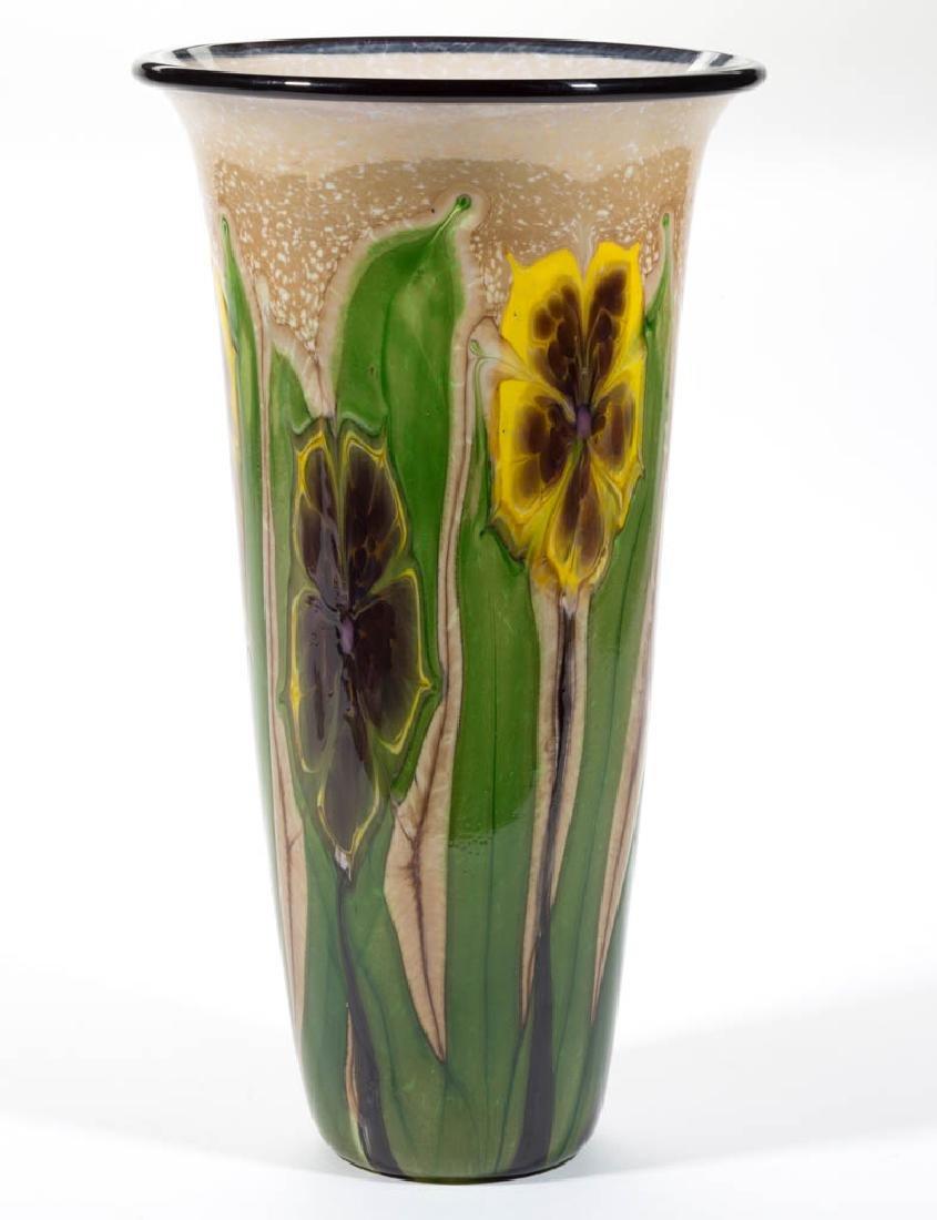 MAYAUEL WARD MOTTLED FLOWERS STUDIO ART GLASS VASE