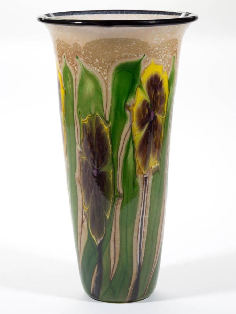MAYAUEL WARD MOTTLED FLOWERS STUDIO ART GLASS VASE - 3