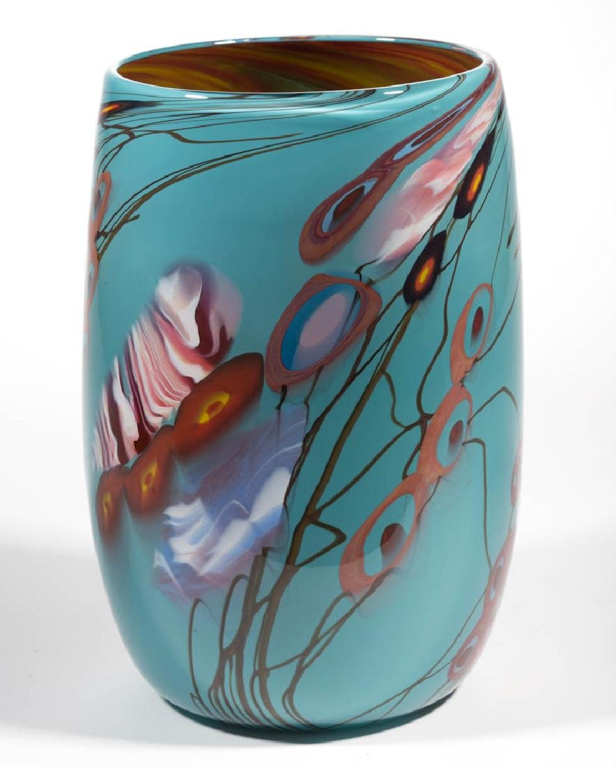 STEVE PALMER CASED STUDIO ART GLASS VASE - 2