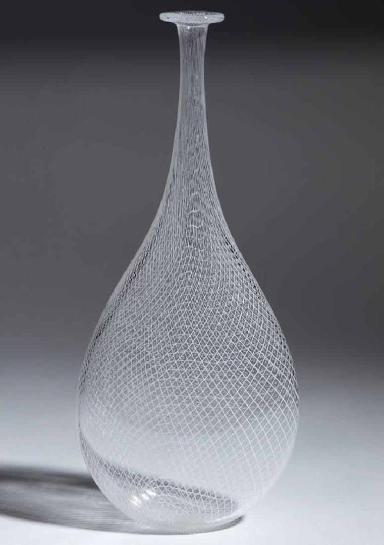 VENETIAN-STYLE LATTICINIO STUDIO ART GLASS BOTTLE VASE
