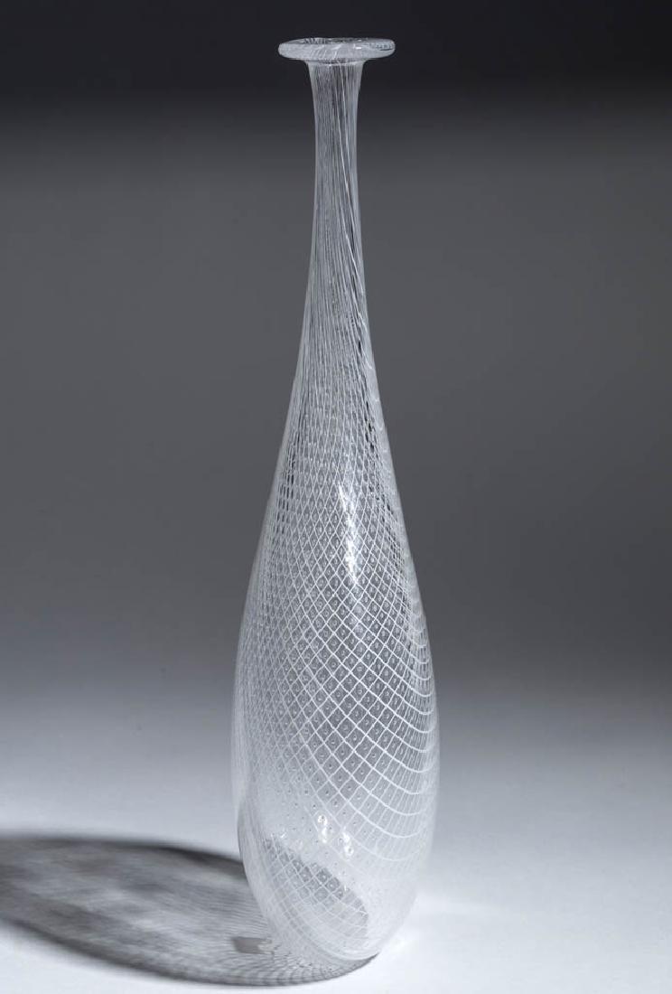 VENETIAN-STYLE LATTICINIO STUDIO ART GLASS BOTTLE VASE - 2