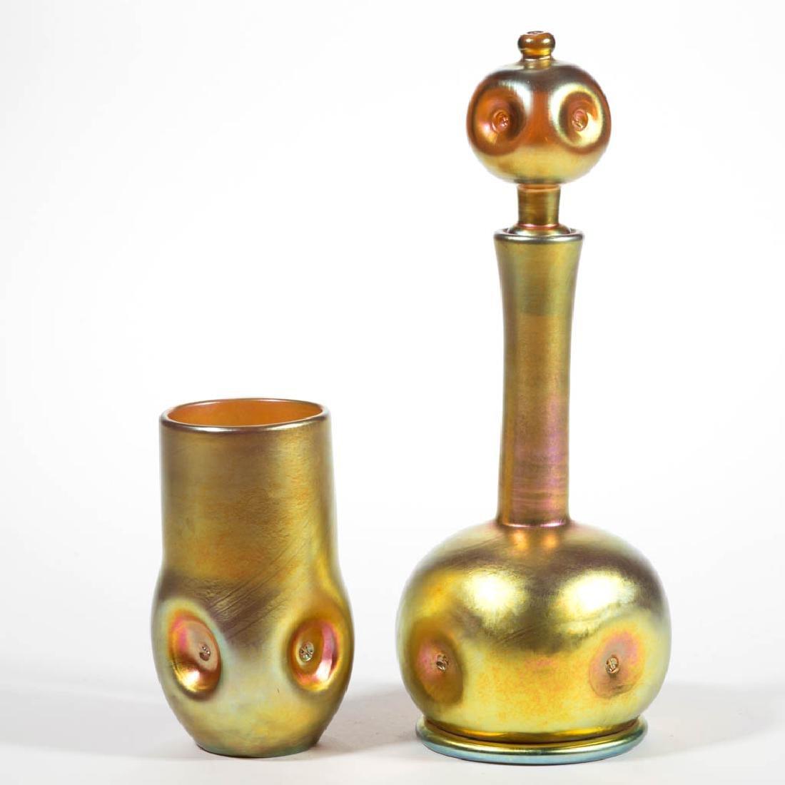 LUNDBERG STUDIOS GOLDEN IRIDESCENT ART GLASS DRINKING