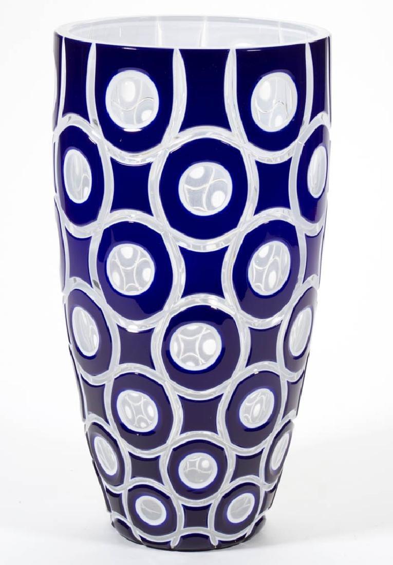 CUT DOUBLE-OVERLAY STUDIO ART GLASS VASE