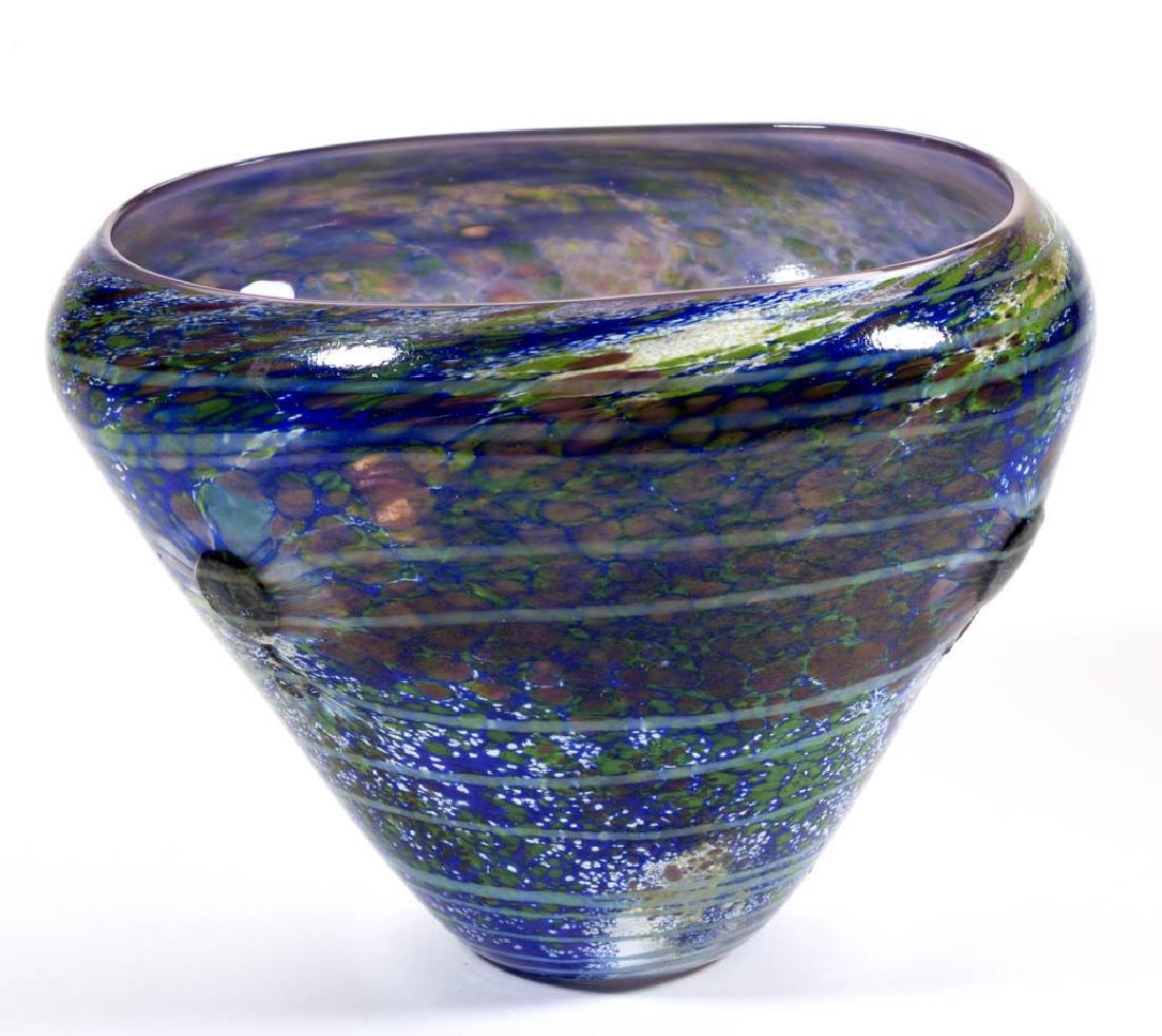 ED FRANCIS MOTTLED AND SWIRLED STUDIO ART GLASS BOWL