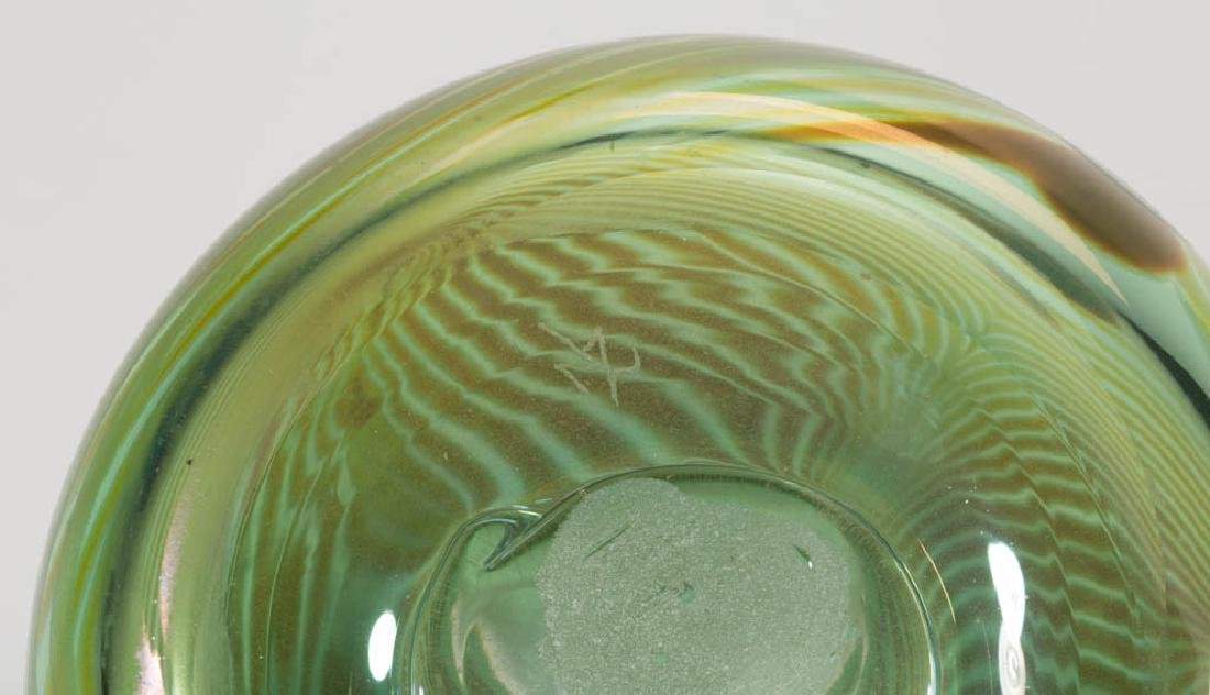 UNIDENTIFIED PULLED FEATHER STUDIO ART GLASS VASE - 3