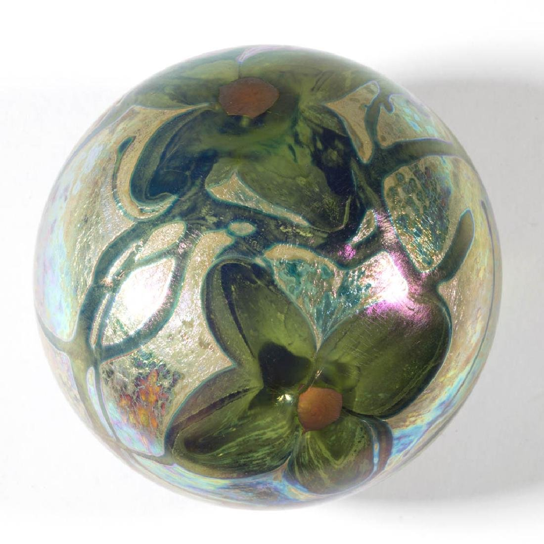 FLORAL AND IRIDESCENT STUDIO ART GLASS PAPERWEIGHT