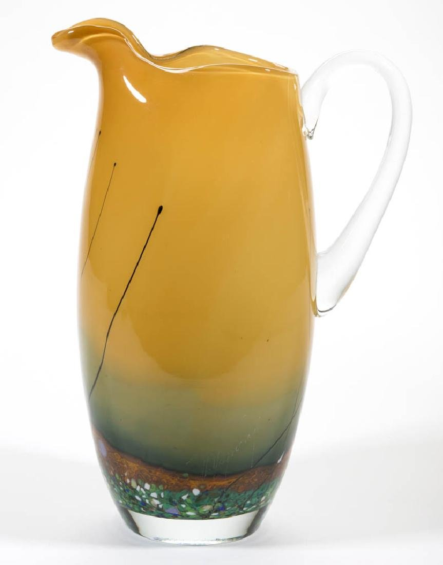 UNIDENTIFIED STUDIO ART GLASS PITCHER
