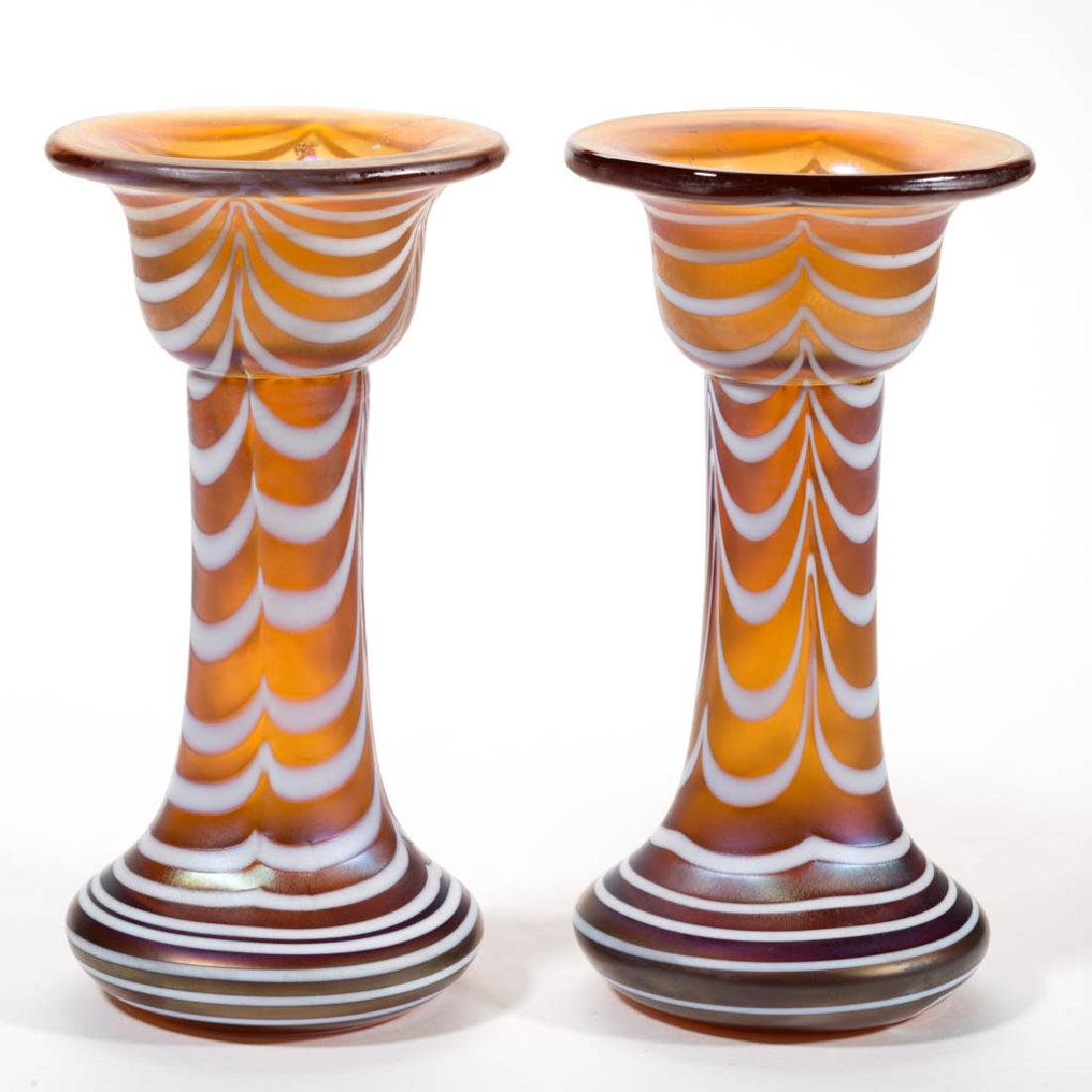 IRIDESCENT LOOP STUDIO ART GLASS PAIR OF VASES