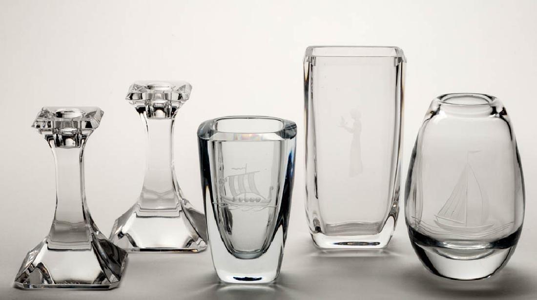 ASSORTED SWEDISH STUDIO ART GLASS ARTICLES, LOT OF FOUR