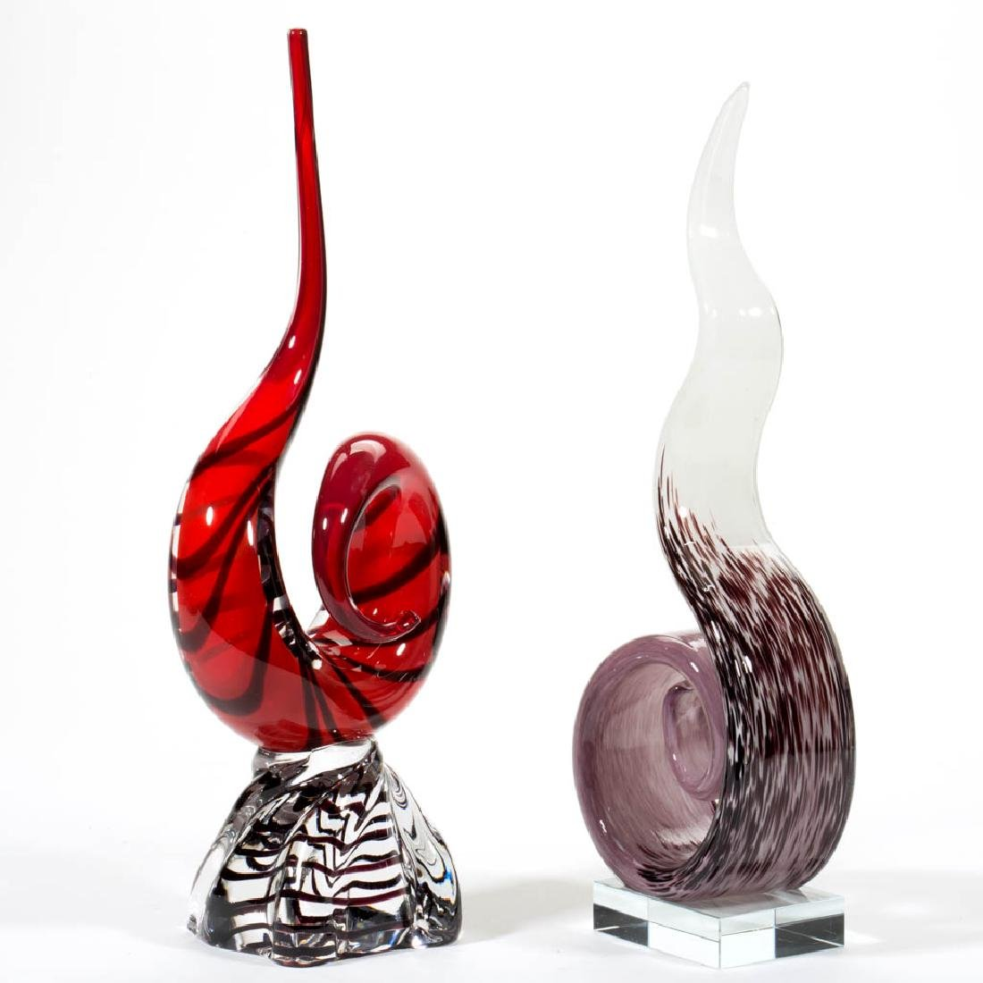 ASSORTED MURANO LOOP / SPIRAL SCULPTURES, LOT OF TWO