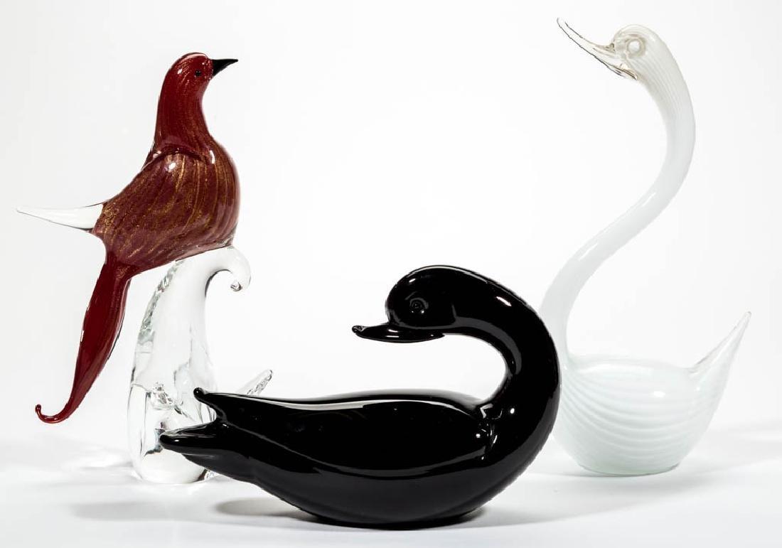 MURANO STUDIO ART GLASS SCULPTURES, LOT OF THREE