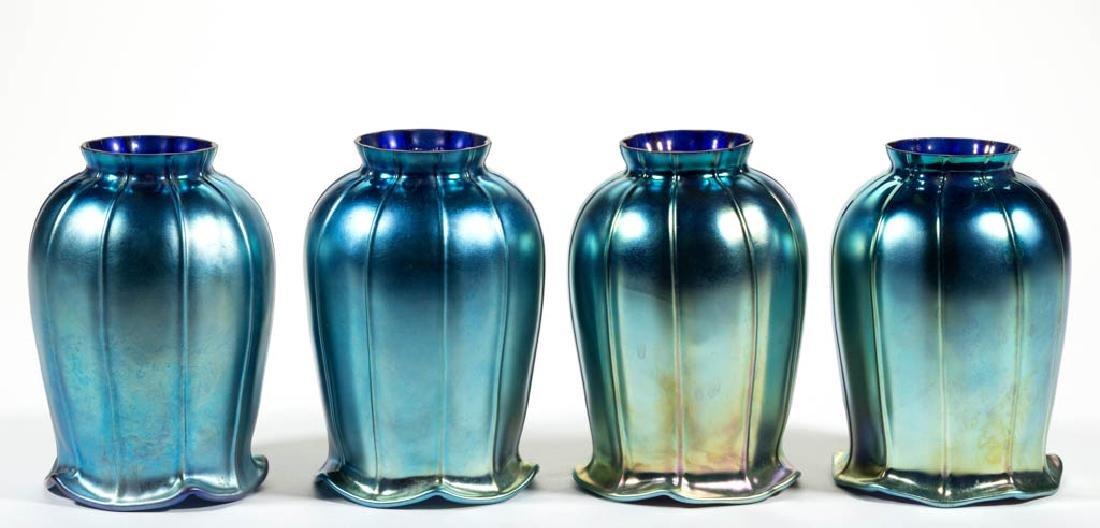 VINTAGE IRIDESCENT STUDIO ART GLASS LAMP SHADES, LOT OF