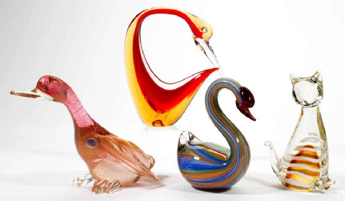 ASSORTED FIGURAL ANIMAL STUDIO ART GLASS FIGURES /
