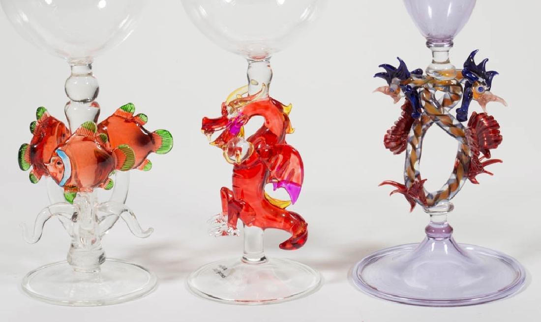 ASSORTED FIGURAL STEM STUDIO ART GLASS ARTICLES, LOT OF - 2