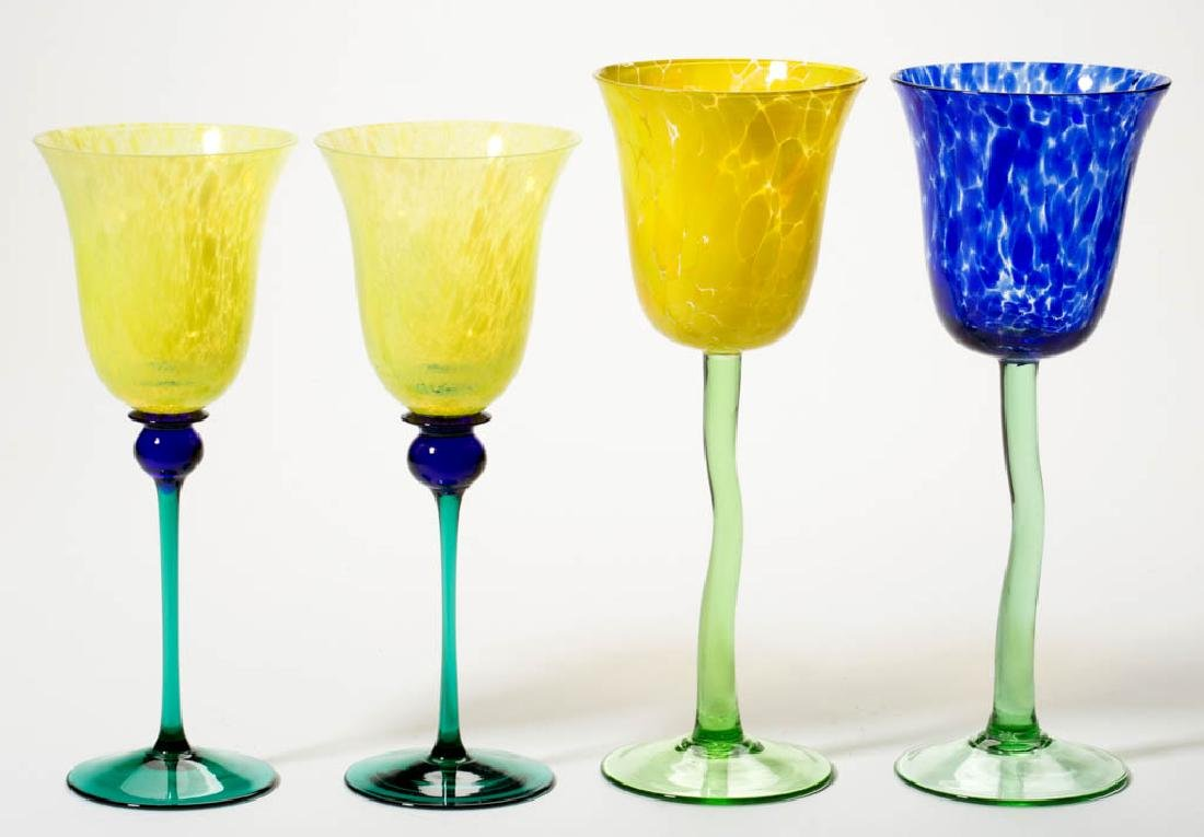 ASSORTED MOTTLED STUDIO ART GLASS GOBLETS, LOT OF FOUR