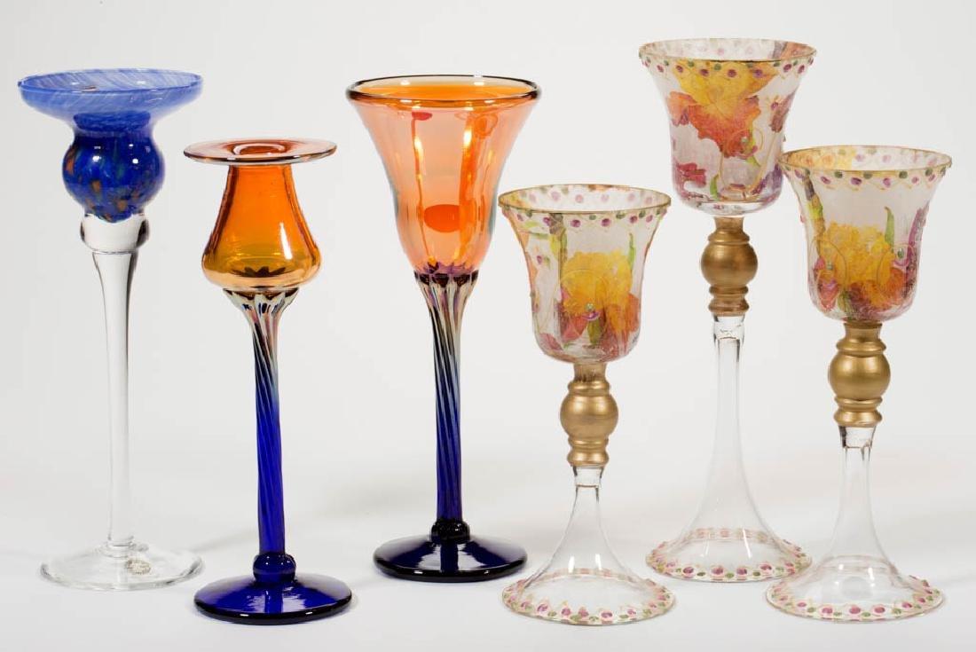 ASSORTED STUDIO ART GLASS GOBLETS, LOT OF SIX