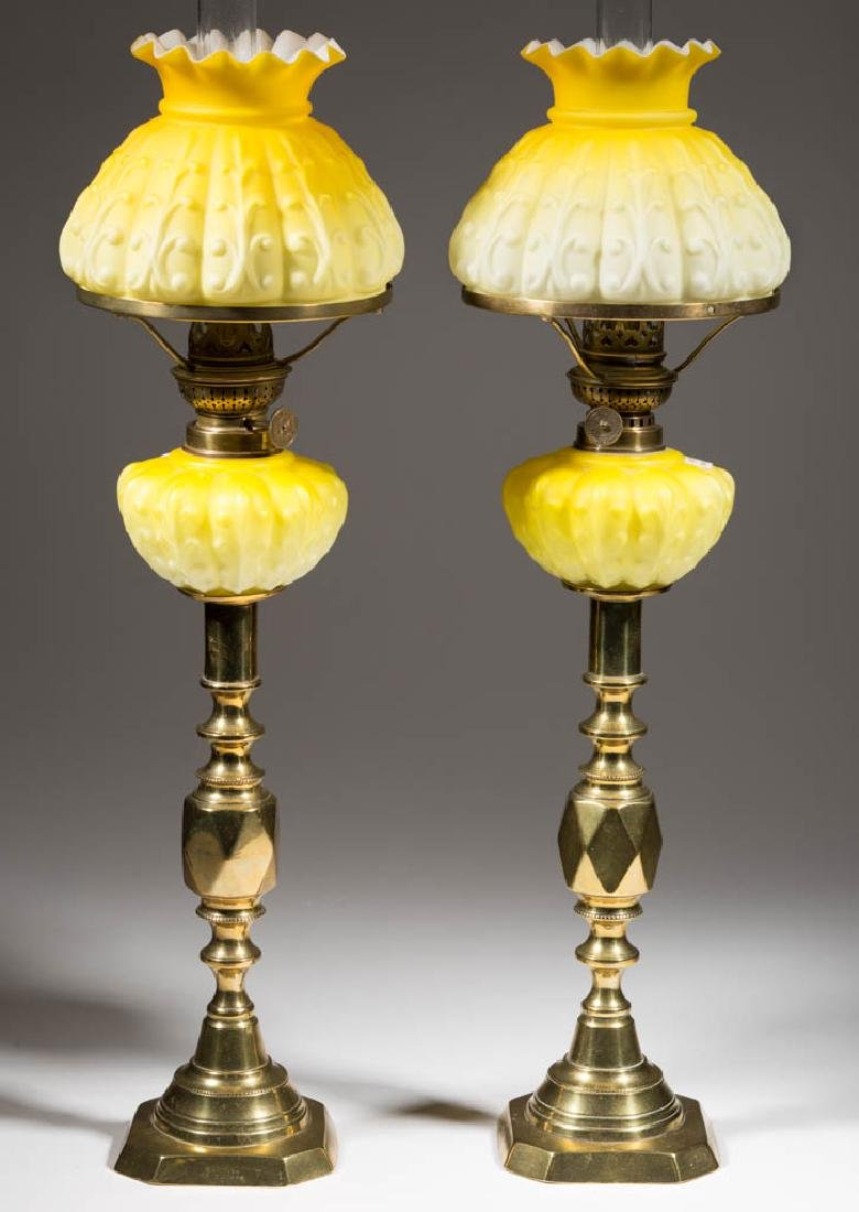 MOLDED AND CASED GLASS SATIN GLASS PEG LAMPS, PAIR - 2