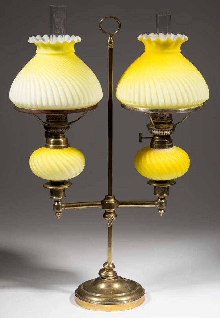 MOLDED SWIRL CASED SATIN GLASS PEG LAMPS, PAIR