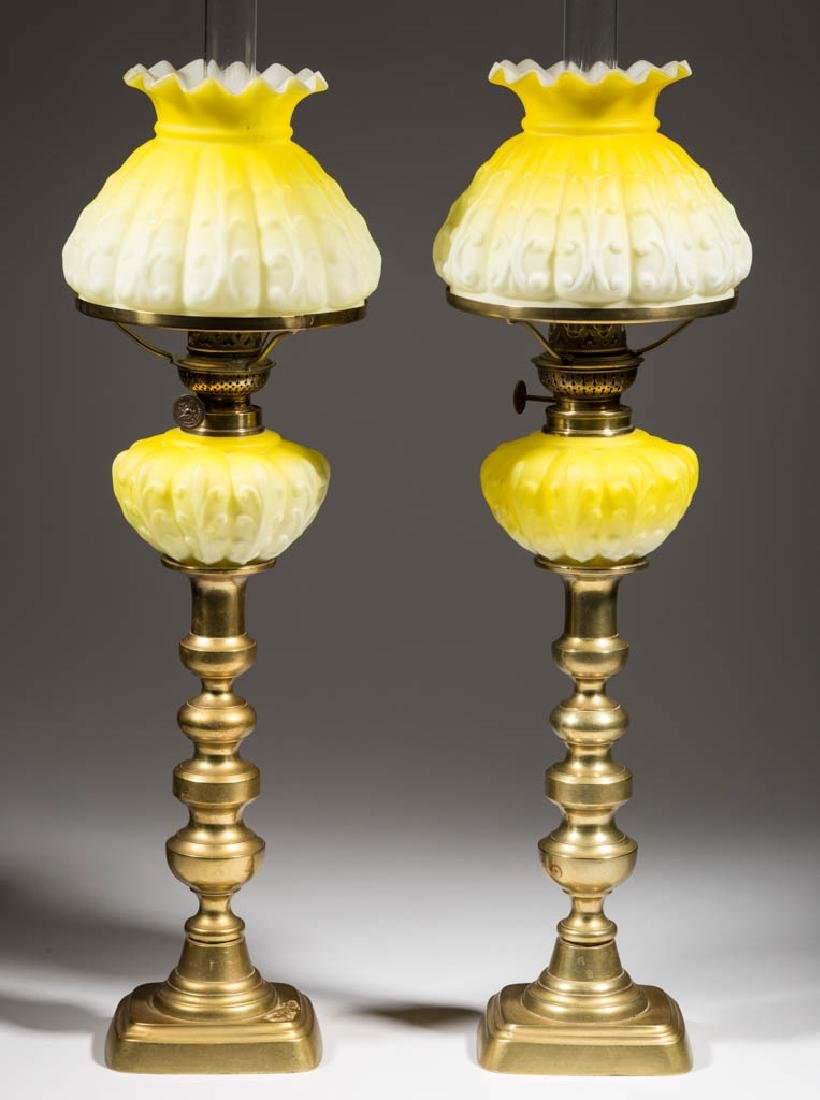 MOLDED CASED SATIN GLASS PEG LAMPS, PAIR - 2