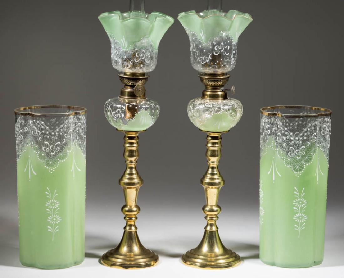 DECORATED PANEL OPTIC PEG LAMPS AND VASES, FOUR PIECE