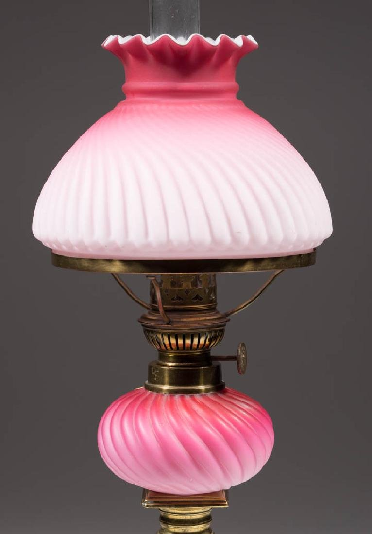 MOLDED SWIRLED RIB CASED SATIN GLASS PEG LAMP