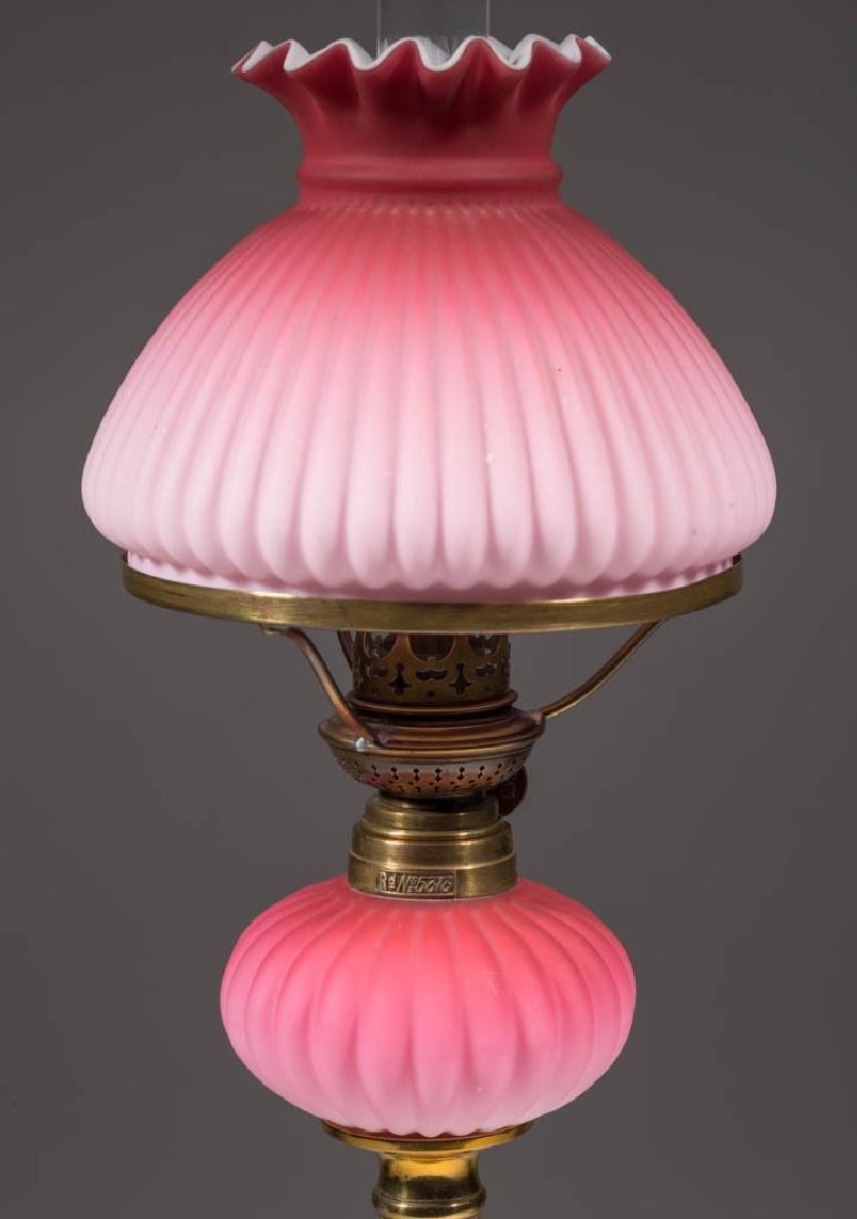 MOLDED RIB CASED SATIN GLASS PEG LAMP