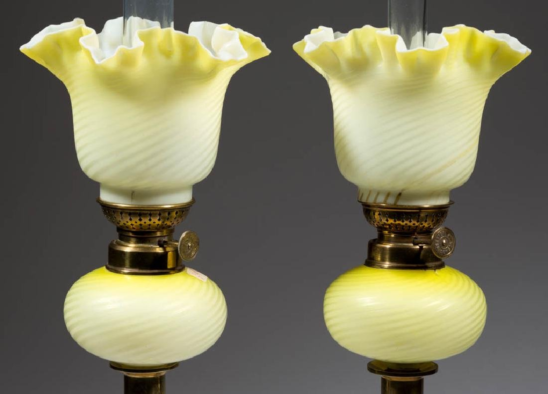 SWIRL AIR-TRAP MOTHER-OF-PEARL SATIN GLASS PEG LAMPS,
