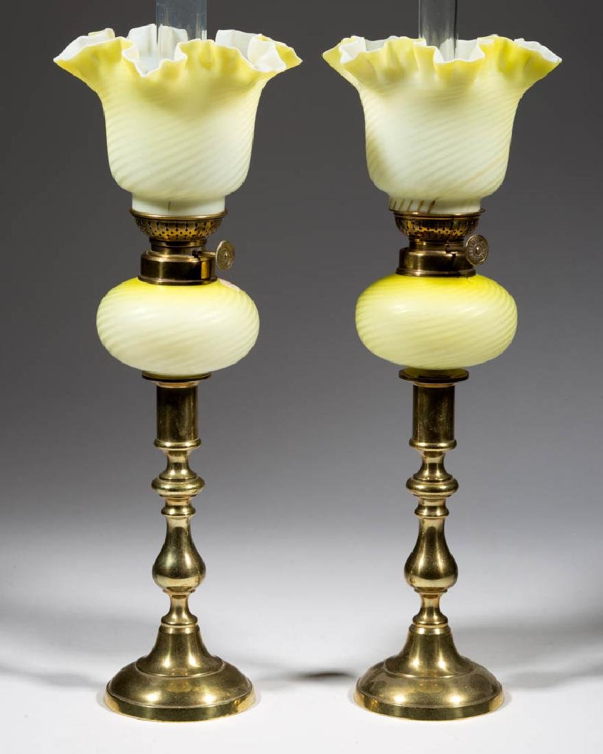 SWIRL AIR-TRAP MOTHER-OF-PEARL SATIN GLASS PEG LAMPS, - 2