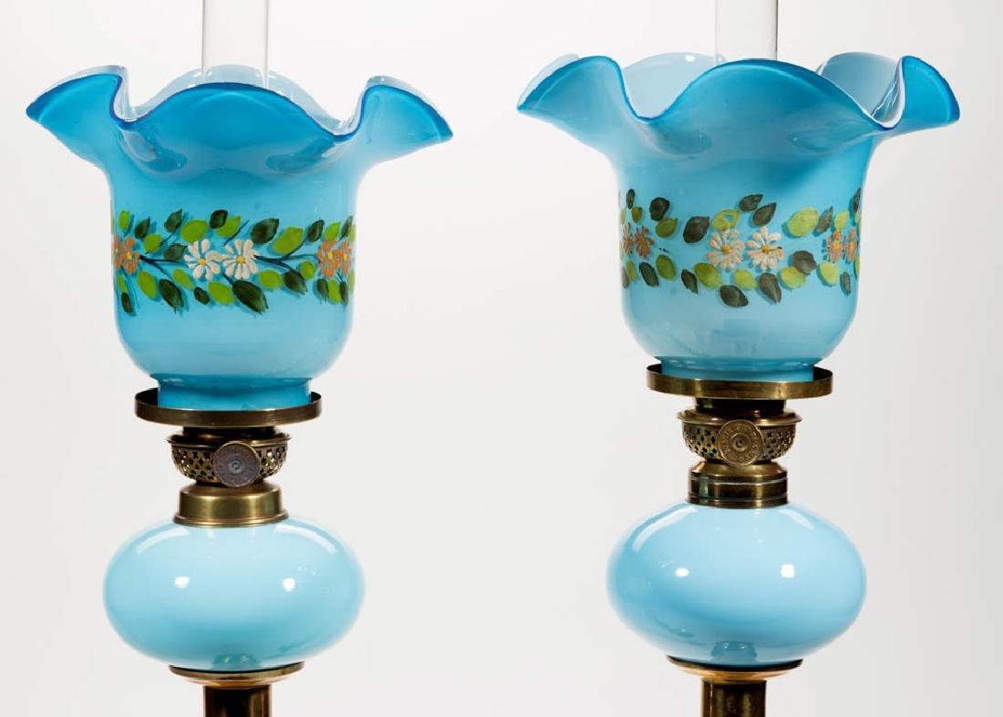 OPAQUE GLASS PEG LAMPS, PAIR