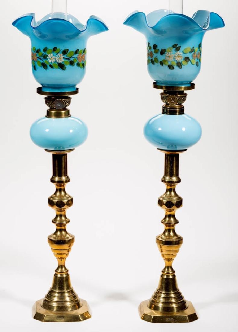 OPAQUE GLASS PEG LAMPS, PAIR - 2