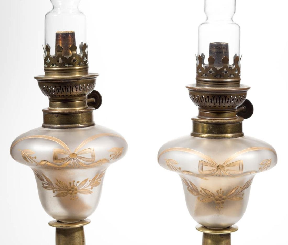 VICTORIAN DECORATED SATIN GLASS PEG LAMPS, PAIR