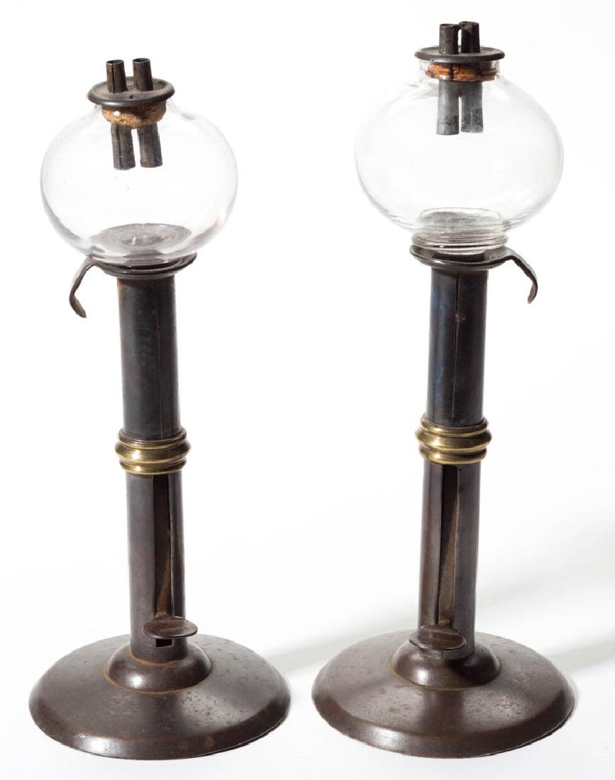 FREE-BLOWN WHALE OIL PEG LAMPS, NEAR PAIR