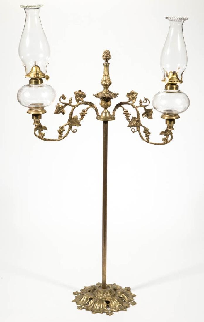 FREE-BLOWN AND ENGRAVED PEG LAMPS, PAIR IN CANDLELABRUM