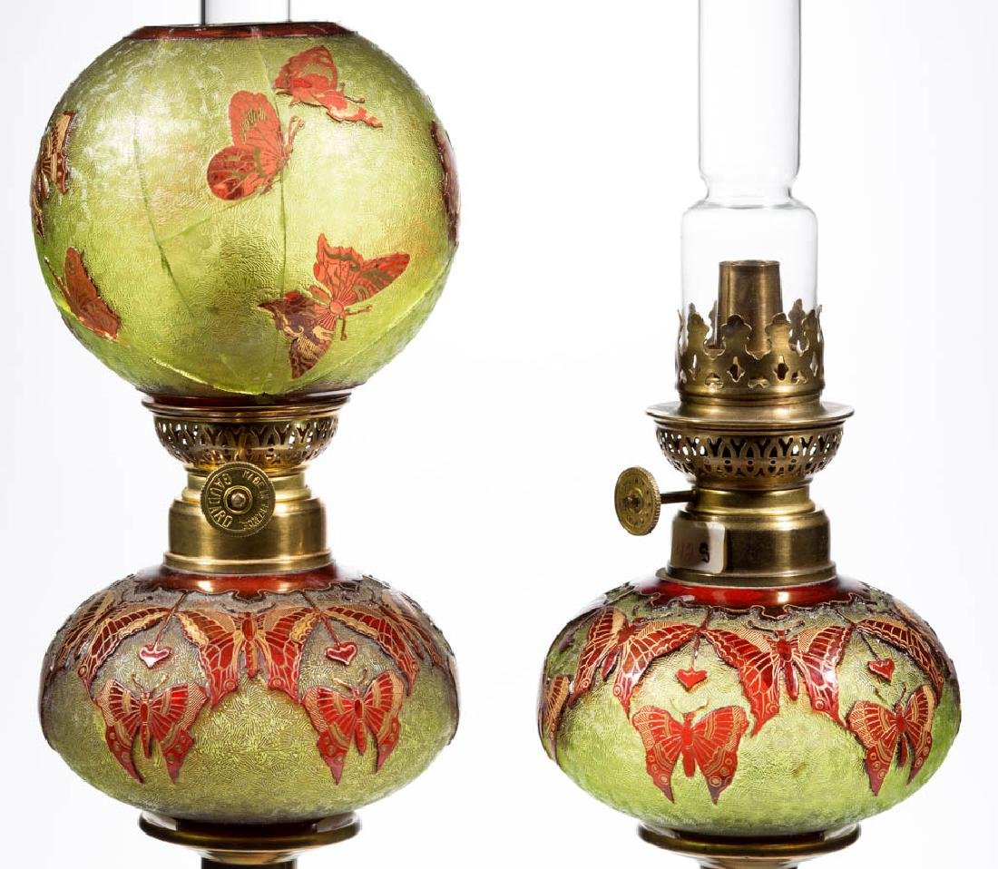 ACID CUT BACK CAMEO-TYPE BUTTERFLY PEG LAMPS, PAIR