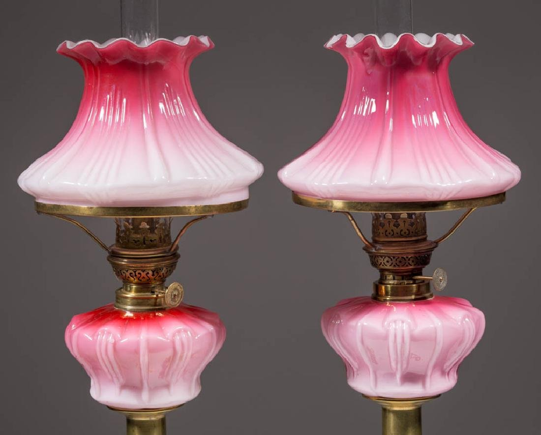 CASED GLASS PEG LAMPS, PAIR
