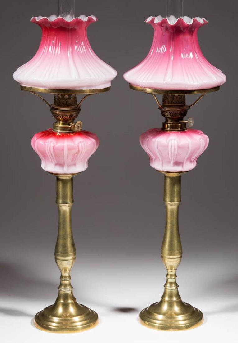 CASED GLASS PEG LAMPS, PAIR - 2