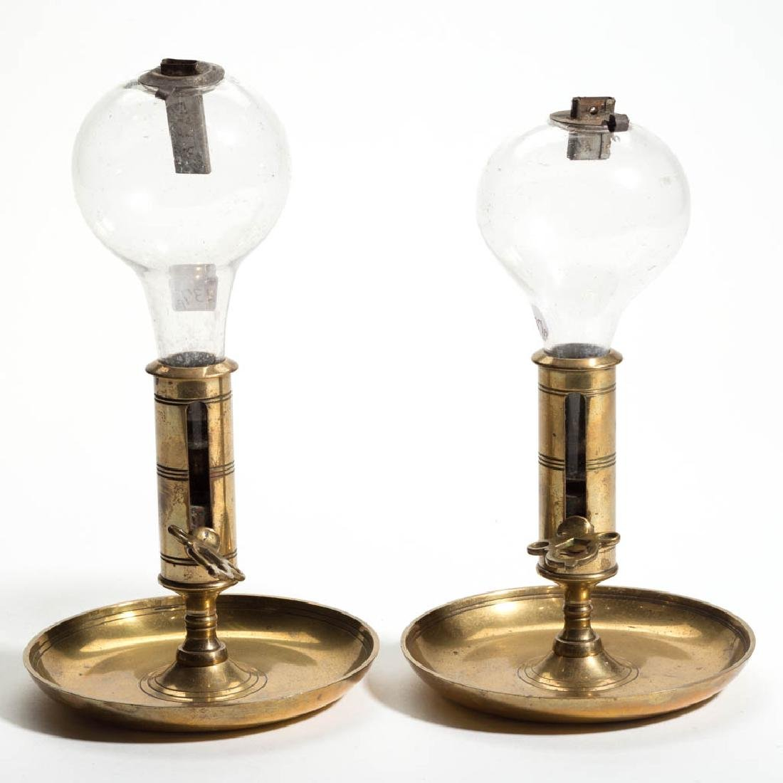 FREE-BLOWN WHALE OIL PEG LAMPS, PAIR
