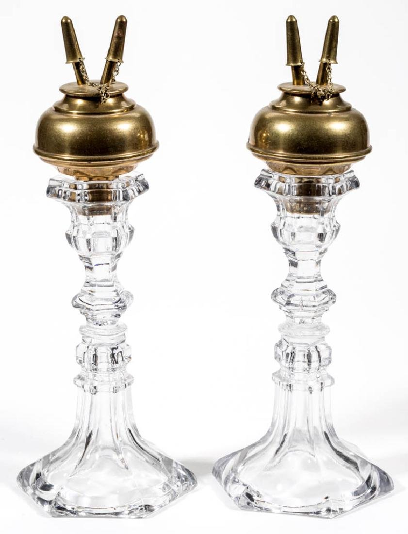 BRASS FLUID PEG LAMPS, PAIR