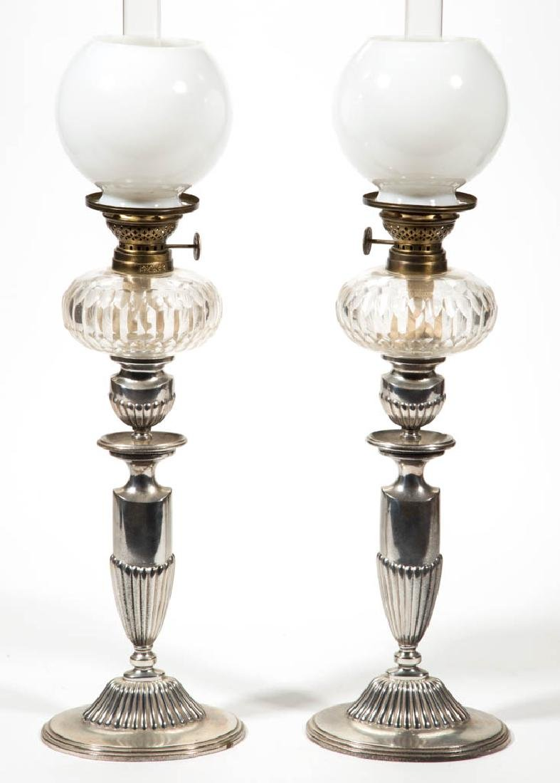 ENGLISH PRISM CUT GLASS PAIR OF PEG LAMPS
