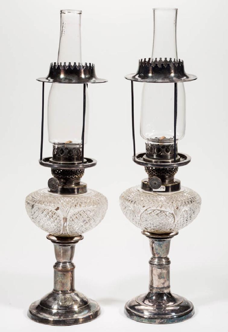 BRILLIANT CUT GLASS PEG LAMPS, PAIR