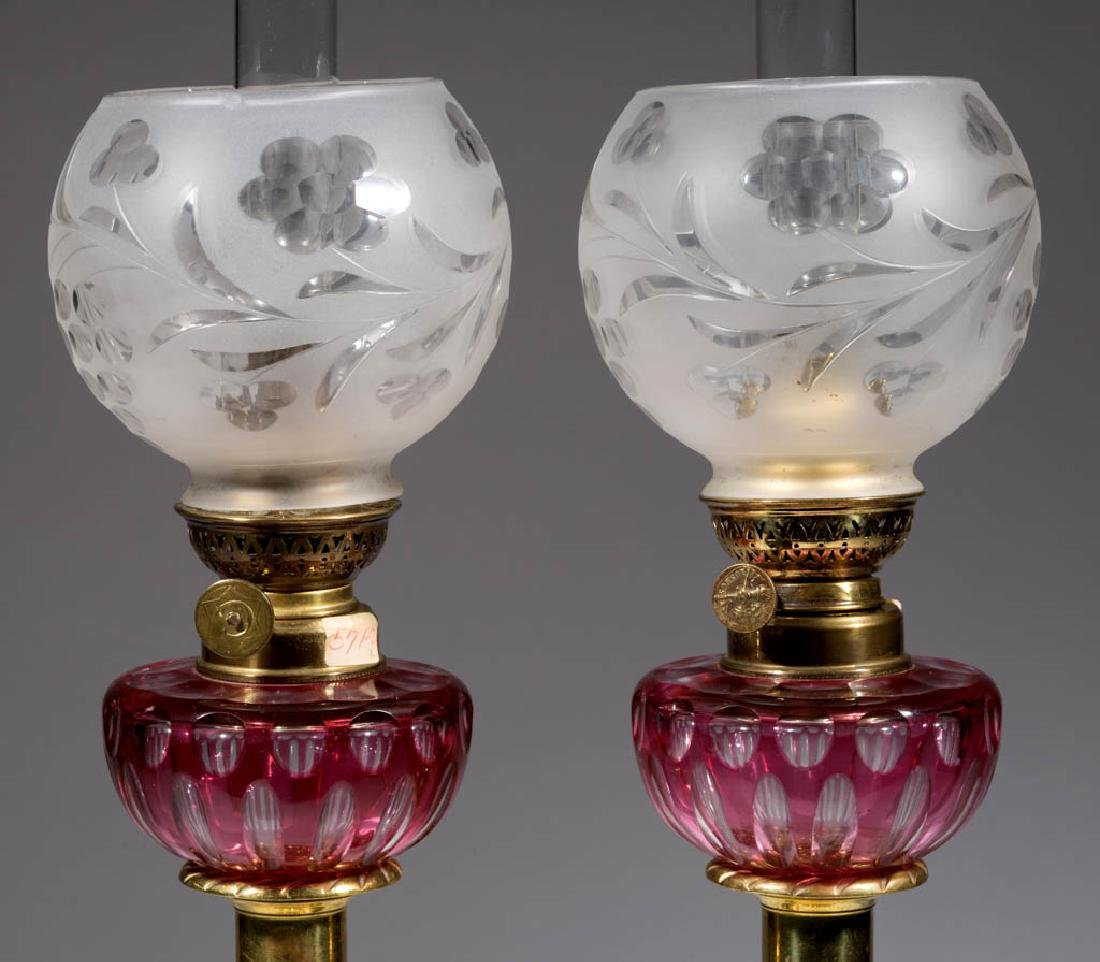 CUT OVERLAY ELONGATED OVALS PEG LAMPS, PAIR