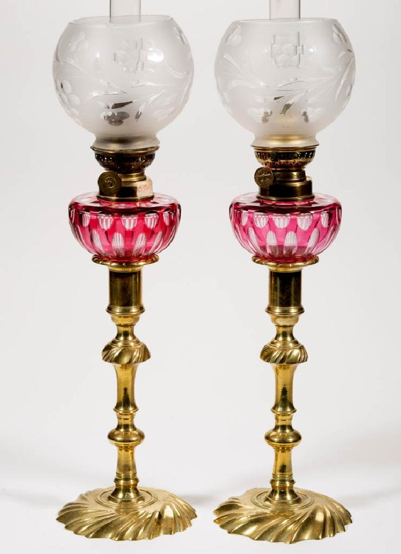 CUT OVERLAY ELONGATED OVALS PEG LAMPS, PAIR - 2