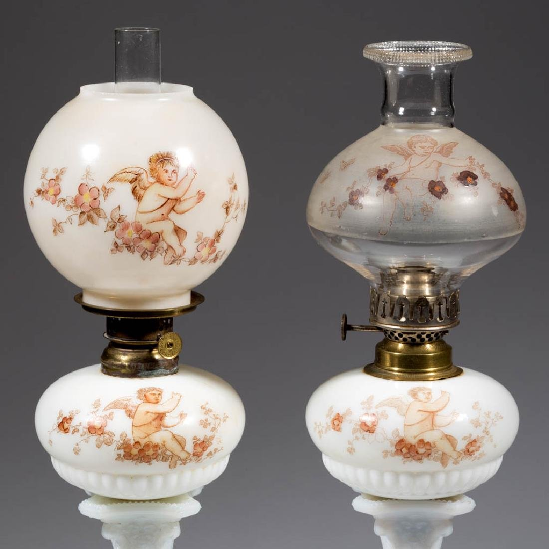 """DECORATED DITHRIDGE """"SYLVIA"""" PEG LAMPS, LOT OF TWO"""